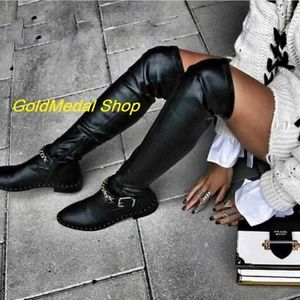ZARA Flat Over-The-Knee New Boots With Chain